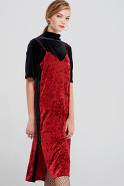 Olena Side Striped Velvet Dress