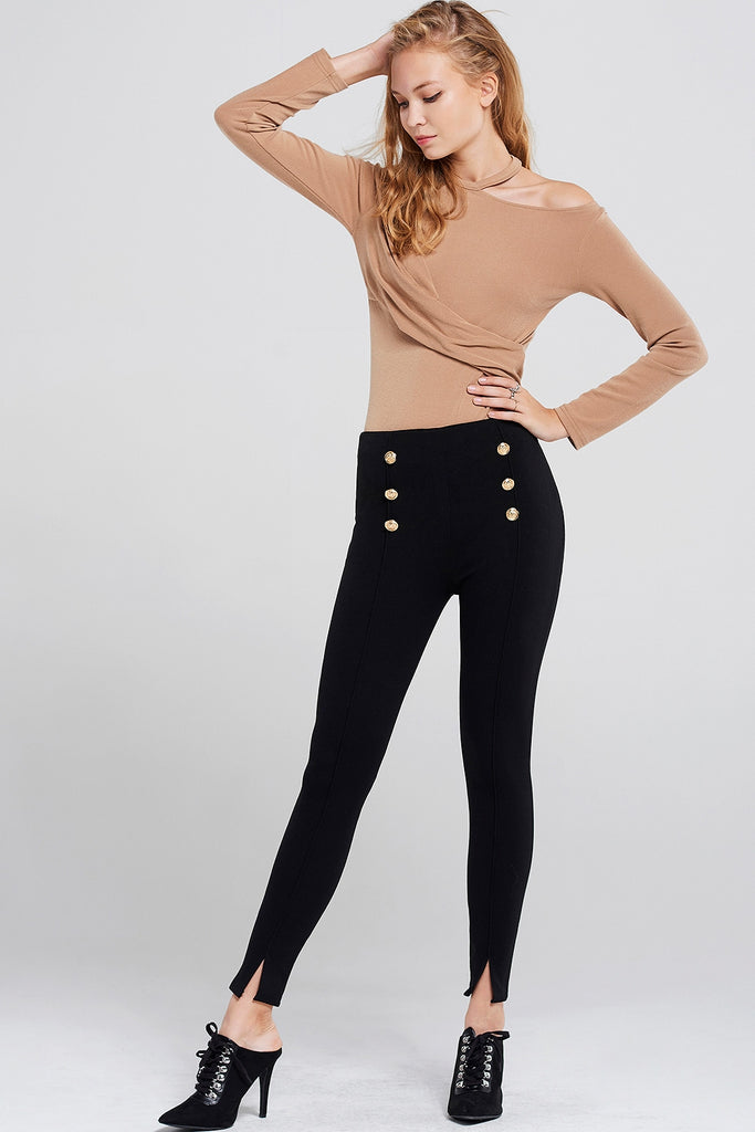 Emily Gold Button Pants