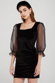Hazel Velvet Dress w/Organza Sleeve