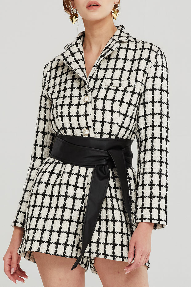storets.com Julia Grid Tweed Romper w/Belt
