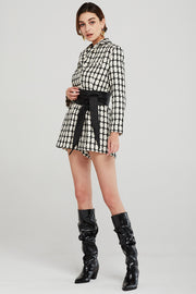 Julia Grid Tweed Romper w/Belt