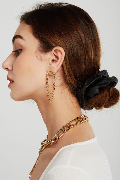 Dual Chain Loop Earrings
