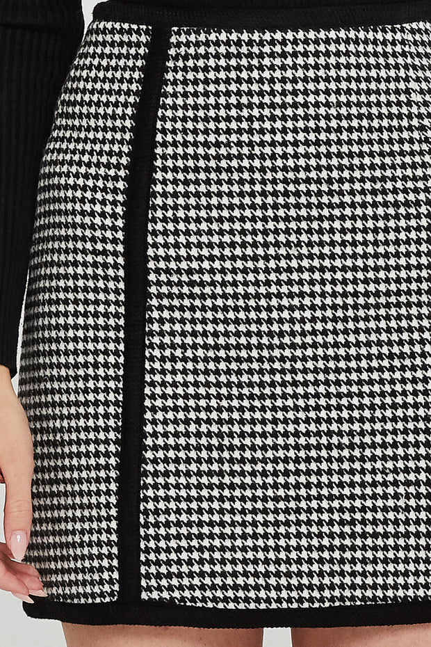 Abby Houndstooth Trim Skirt