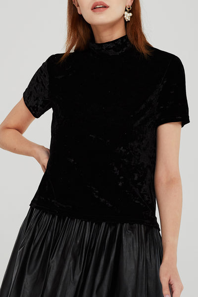 Cecilia High Neck Velvet Top