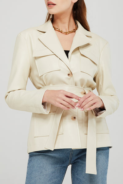 storets.com Adriana Pleather Jacket w/Belt