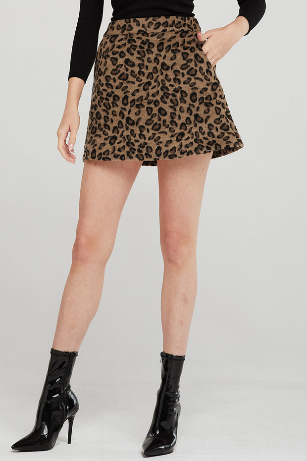 Leah Leopard Borg Mini Skirt