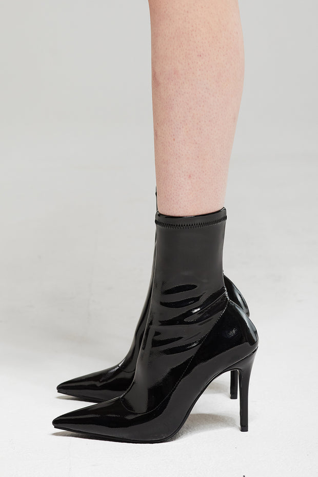 Patent Pleather Heeled Sock Boots