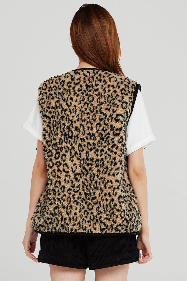 Ruby Borg Vest in Leopard