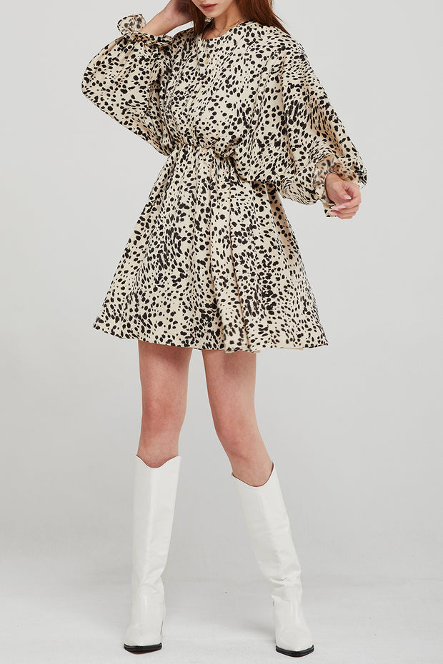 Audrey Brush Dotted Print Dress