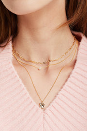 Multi-Chain Layered Necklace w/Mini Pendant