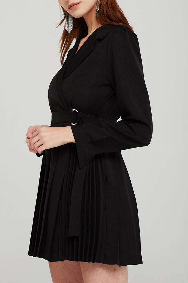 Madeline Pleated Belted Blazer Dress