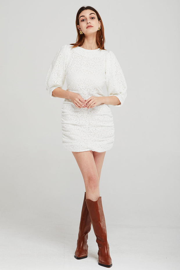 Caroline Side Shirred Lace Dress