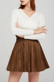 Lena Paperbag Waist Pleated Skirt