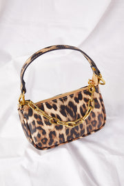 Leopard Print Purse on Link Chain