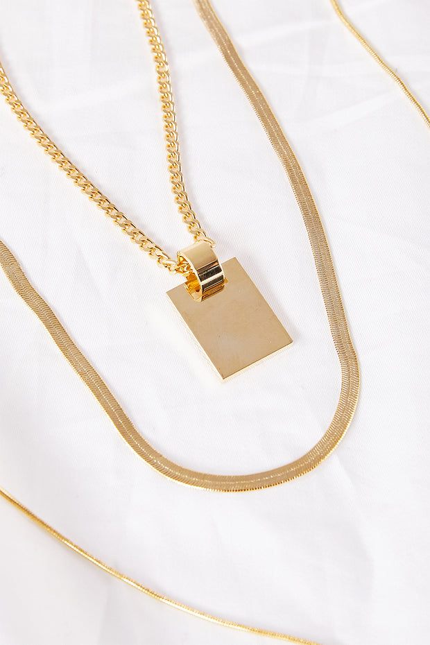 Multi-layer Necklace w/Square Pendant