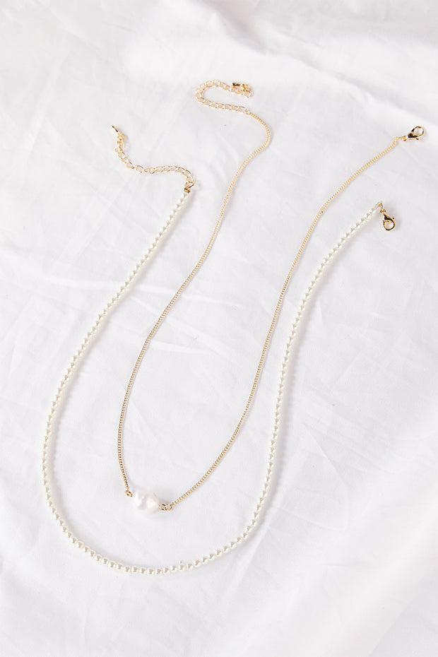Pearl Chain Necklace w/Pearl Pendant
