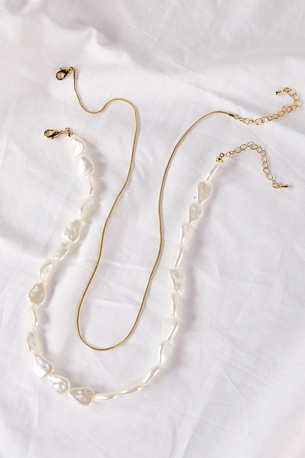 storets.com Pearl Choker Layered Necklace