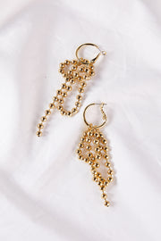 Golden Ball Chain Drop Earrings