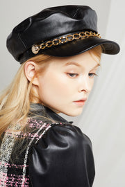 Chained Pleather Newsboy Cap