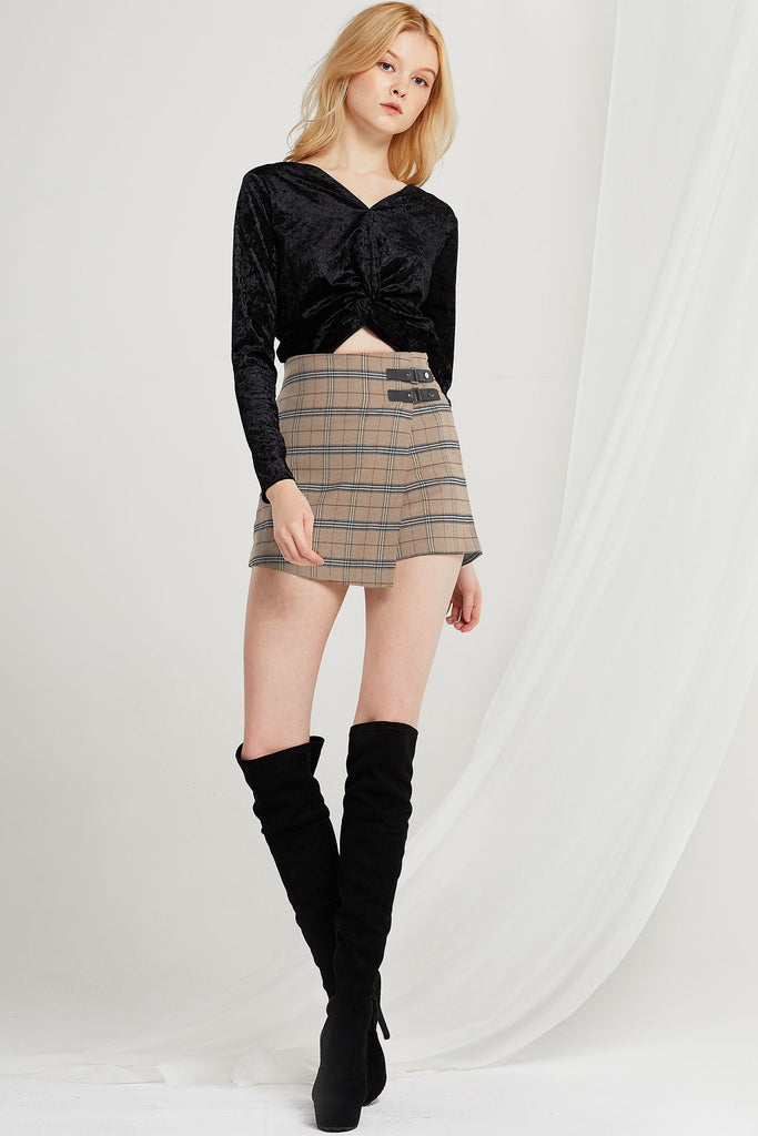 Brenda Plaid Buckled Short