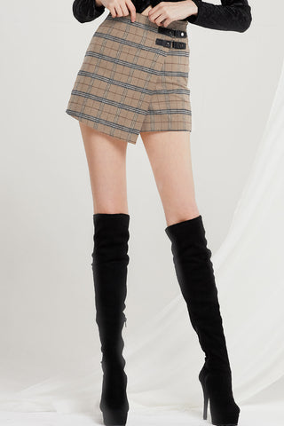 Brenda Plaid Buckled Skort
