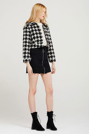Kaia Cropped Houndstooth Jacket