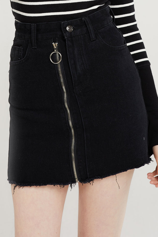 storets Abby Zippered Denim Skirt