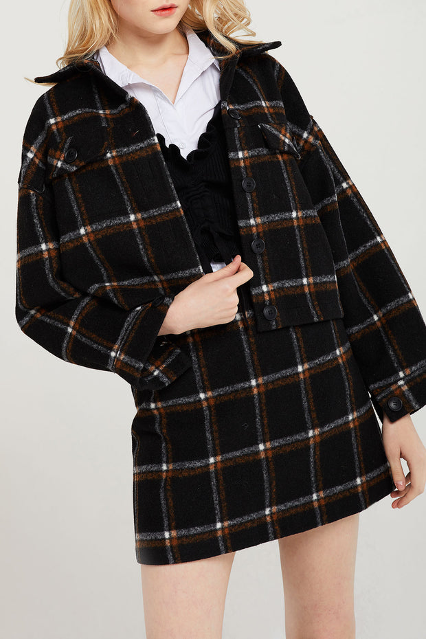storets.com Fiora Earthy Plaid Jacket and Skirt Set