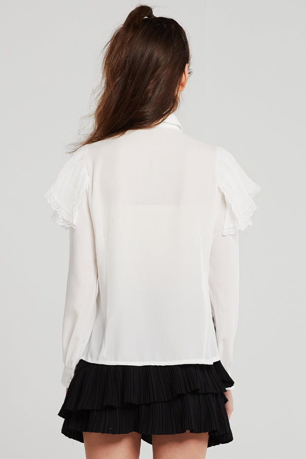 Nancy Tiered Ruffle Blouse w/Brooch