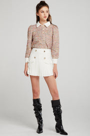 Ellie Pleated Hem Button Skort
