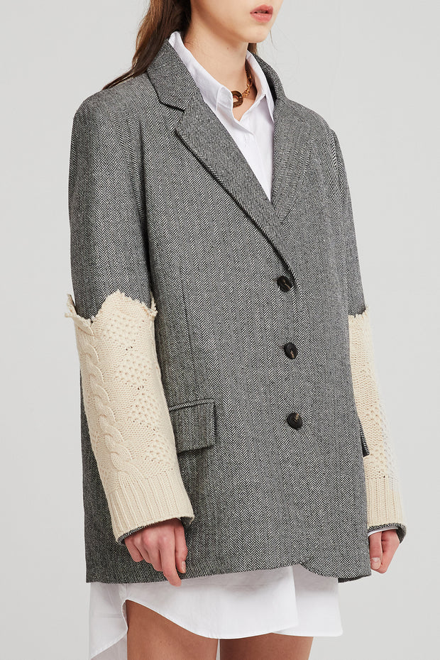 Kai Contrast Knitted Sleeve Coat