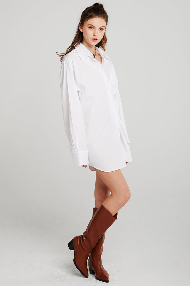 Zoey Puff Sleeve Shirt Dress