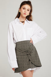 Evelyn Plaid Twist Skirt