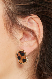 Squared Leopard Earrings