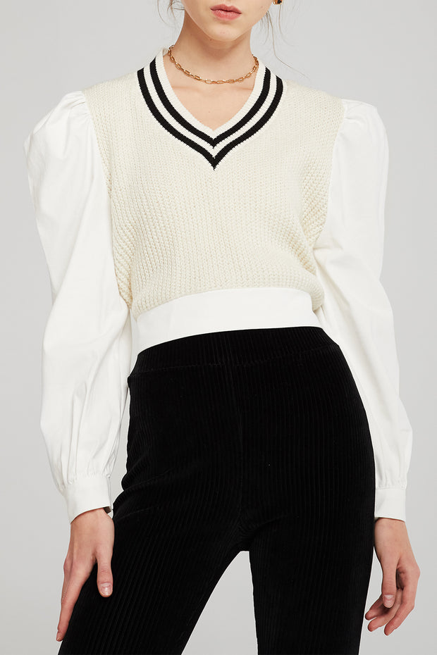 Jessica Sweater Vest Combo Shirt