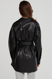 Louise Oversized Pleather Shirt w/Belt