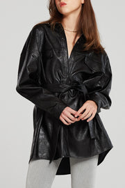 storets.com Louise Oversized Pleather Shirt w/Belt