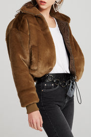 Whitley Stand Collar Faux Fur Jacket
