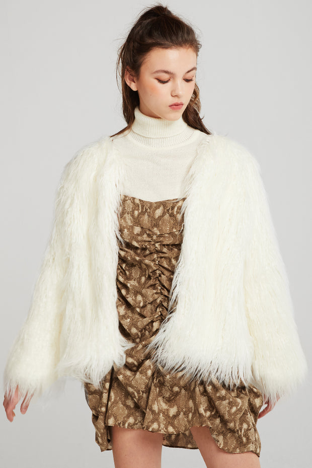 Jade Shaggy Faux Fur Coat