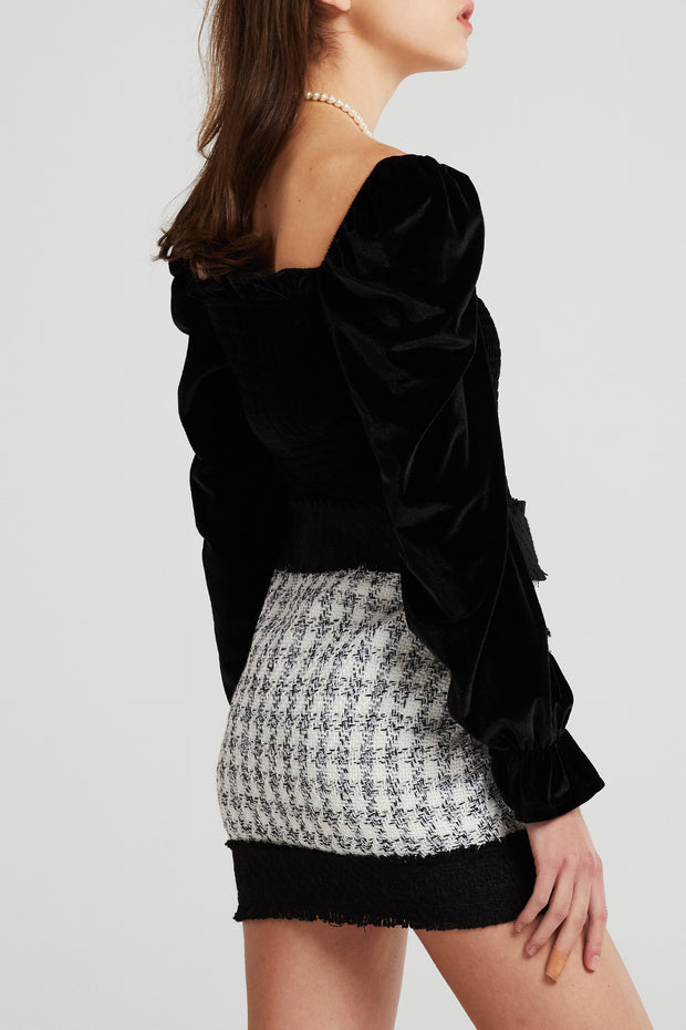 Madison Contrast Trim Tweed Skirt