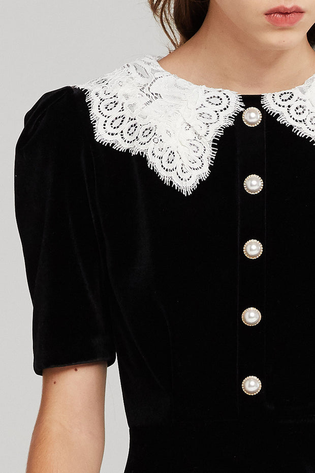 Isabella Velvet Dress w/Lace Collar