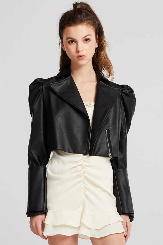 Katherine Structured Puff Sleeve Crop Jacket