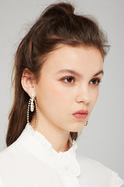 storets.com Pearl And Chain Hoop Earrings