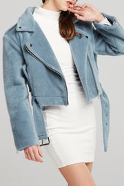 Athena Cropped Fluffy Moto Jacket