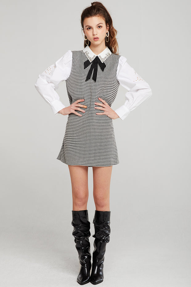 Joyce Jeweled Collar Shirt Dress