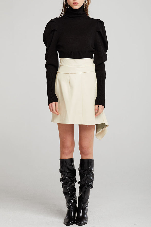 Reese Asymmetric Detail Pleather Skirt