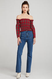 Noor Tartan Off-the-Shoulder Top