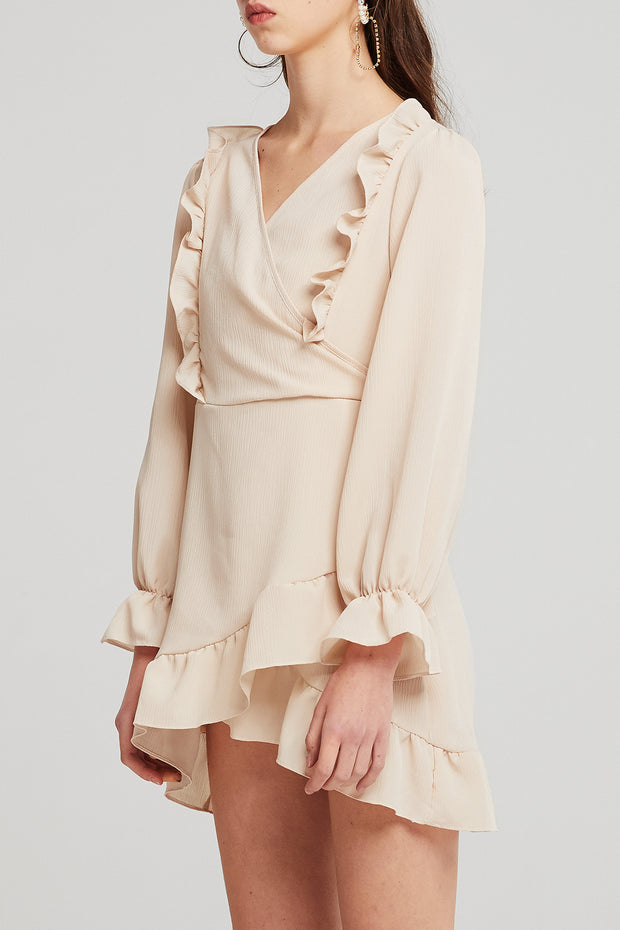 Audrey Surplice Ruffle Dress