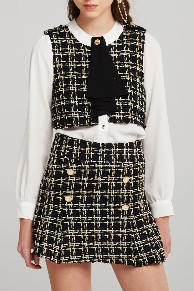 Mercy Tweed Button Skirt