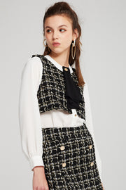 Mercy Tweed Splicing Cropped Blouse